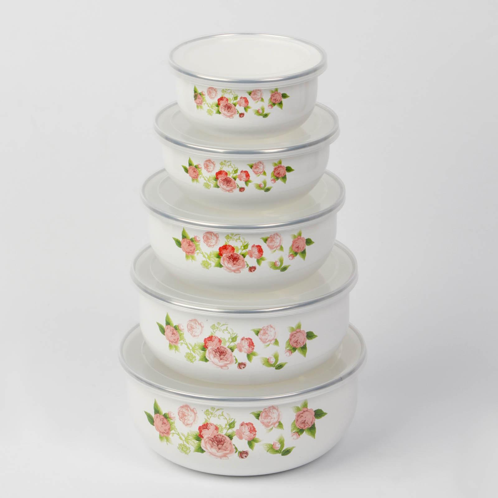 Набор эмалированных салатников 5 штук