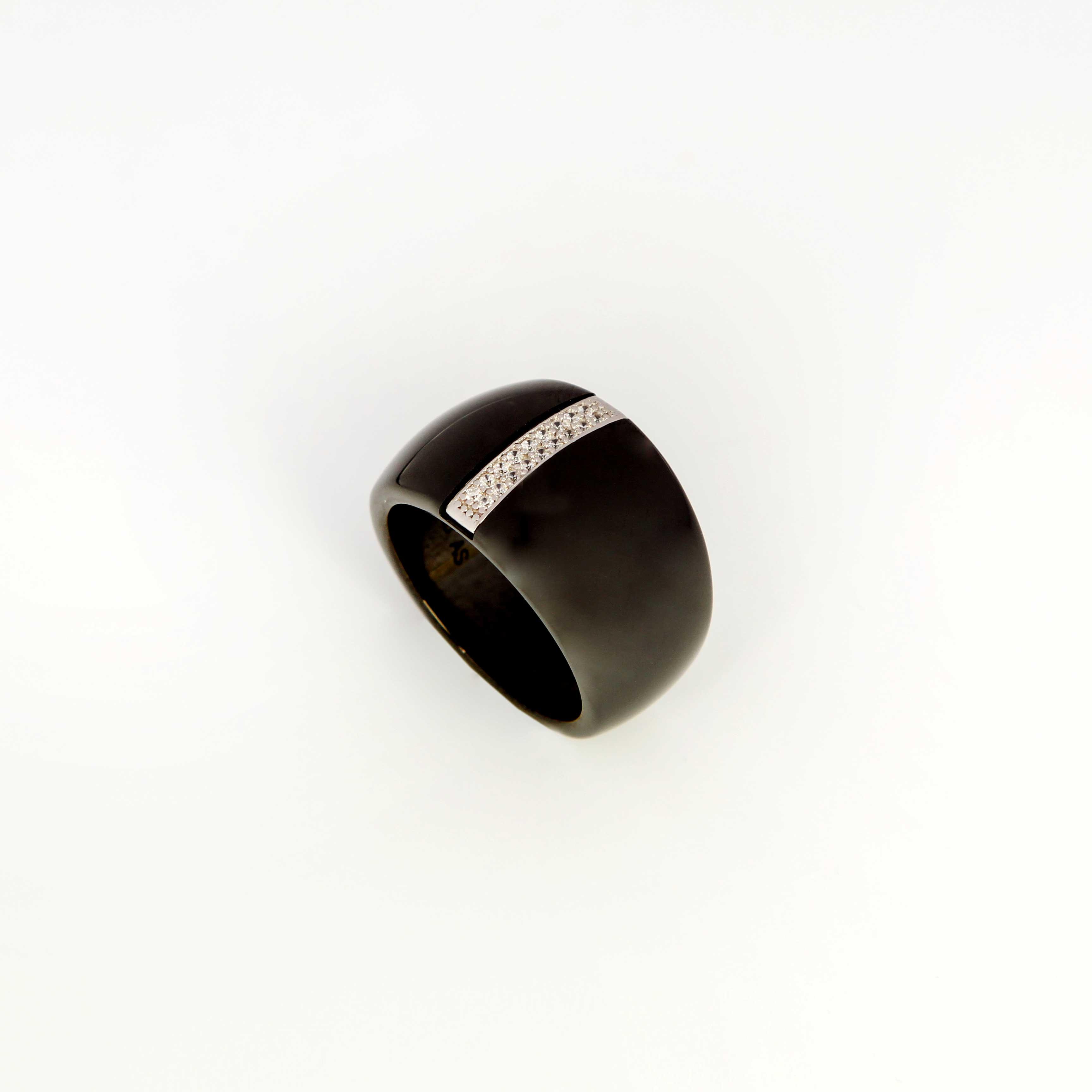Серебряное кольцо «Черная звезда»