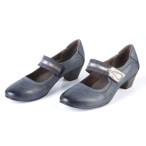 Туфли женские на низком каблуке с ремешком на липучке
