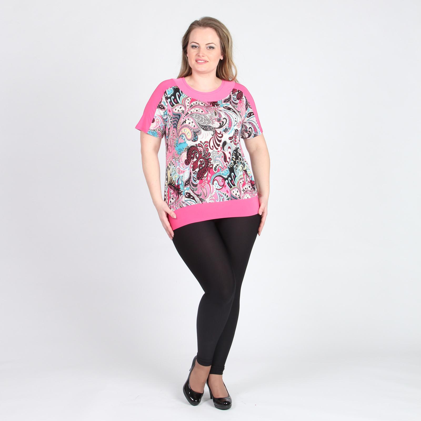 Блуза с коротким рукавом и узорным принтом
