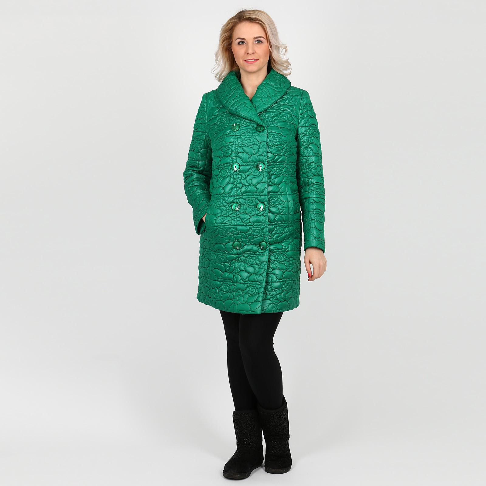 Пальто стеганое с оригинальным воротником