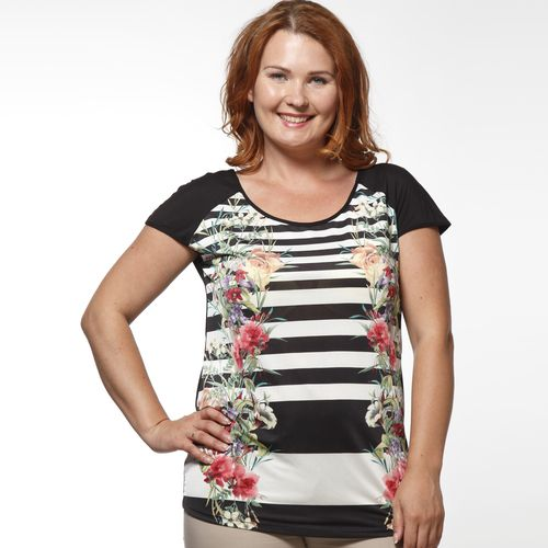 Блуза в полоску с цветочным принтом