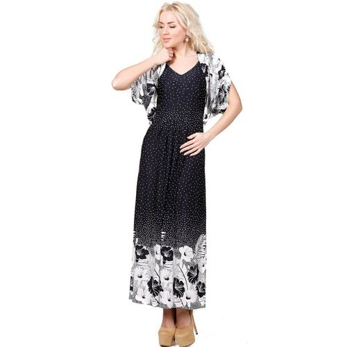 Жакет-болеро с черно-белым цветочным принтом