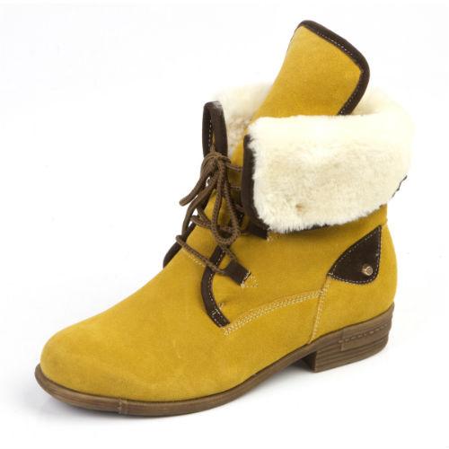 Стильные женские ботинки с меховым отворотом