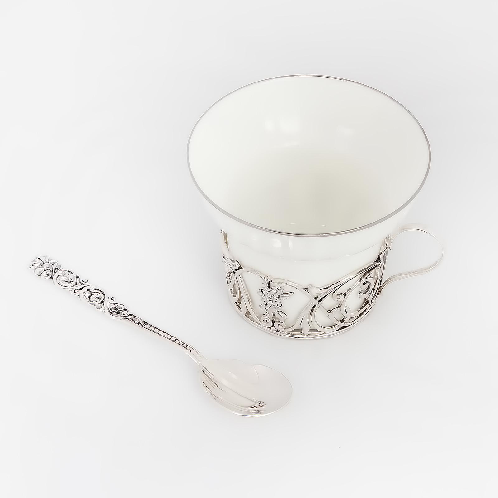 Серебряный набор: чашка «Ангел» + ложка