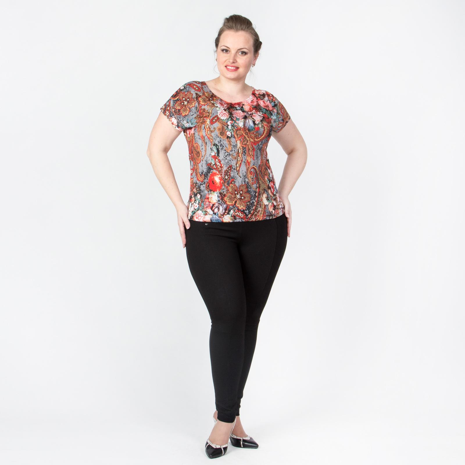 Блуза прямого кроя с принтом «Цветы»