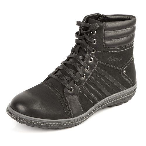 Мужские зимние ботинки на шнуровке на рифленой подошве