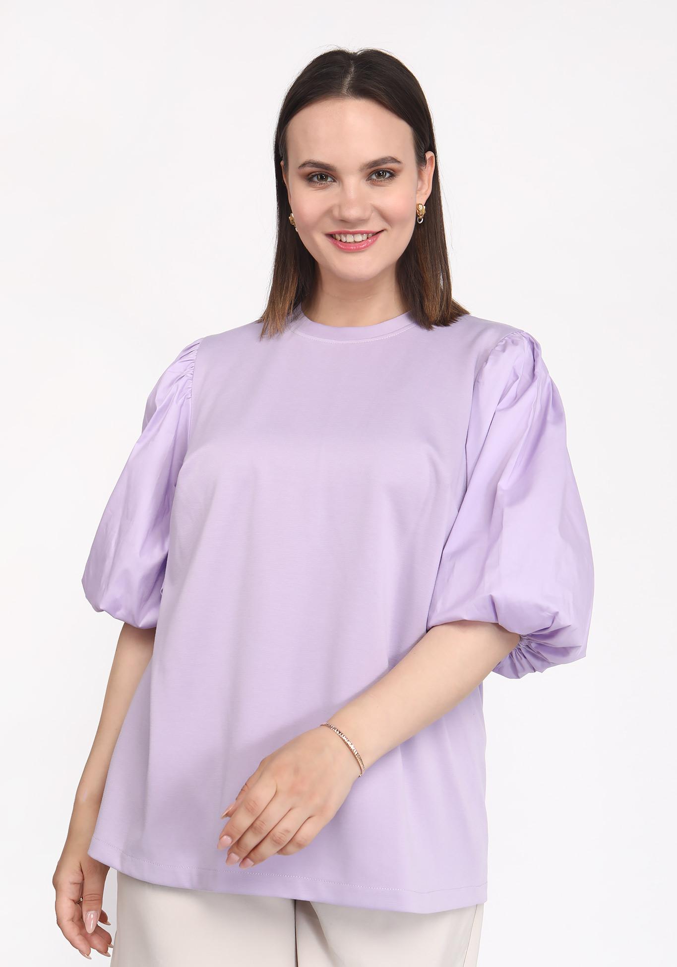 Блуза с рукавом буфом однотонная