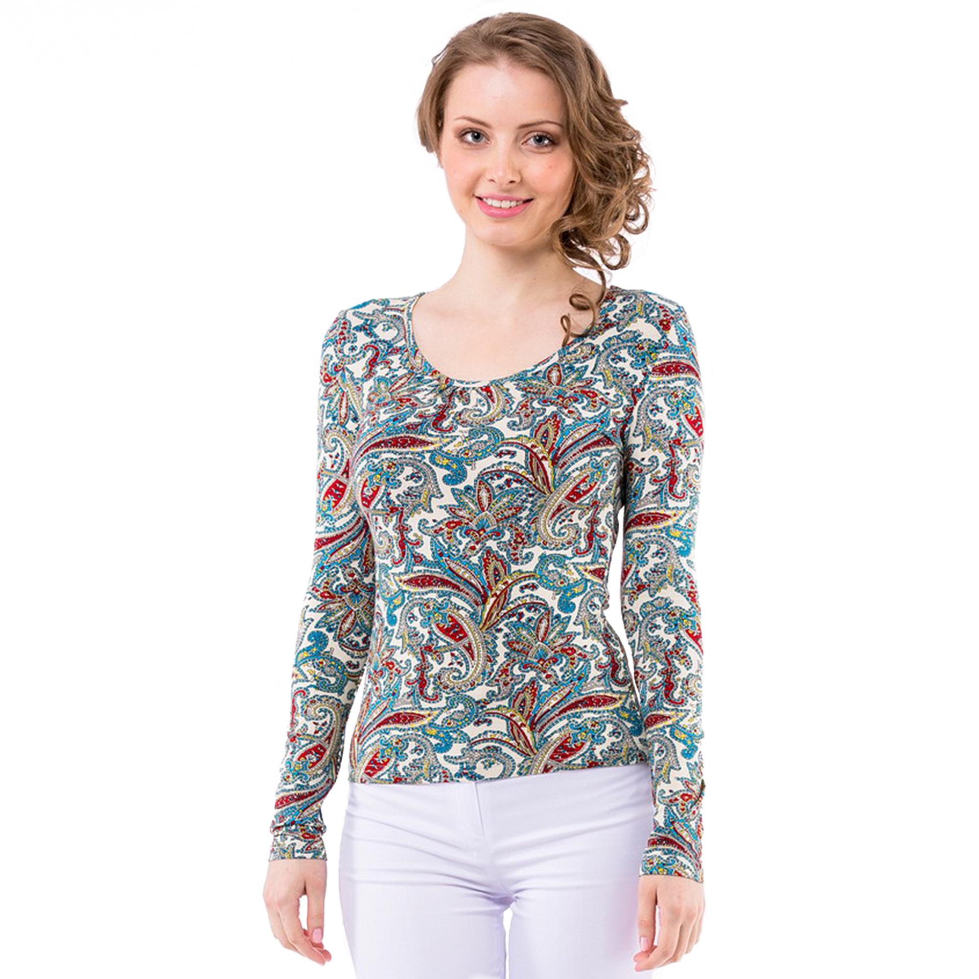 Трикотажная блуза с длинным рукавом и принтом «турецкий огурец»