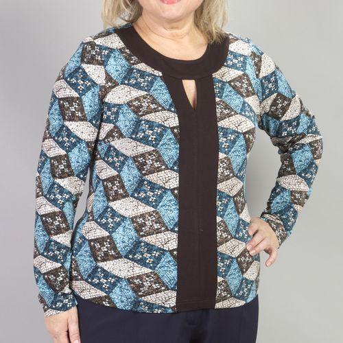 Блуза с контрастным воротником и оригинальным вырезом