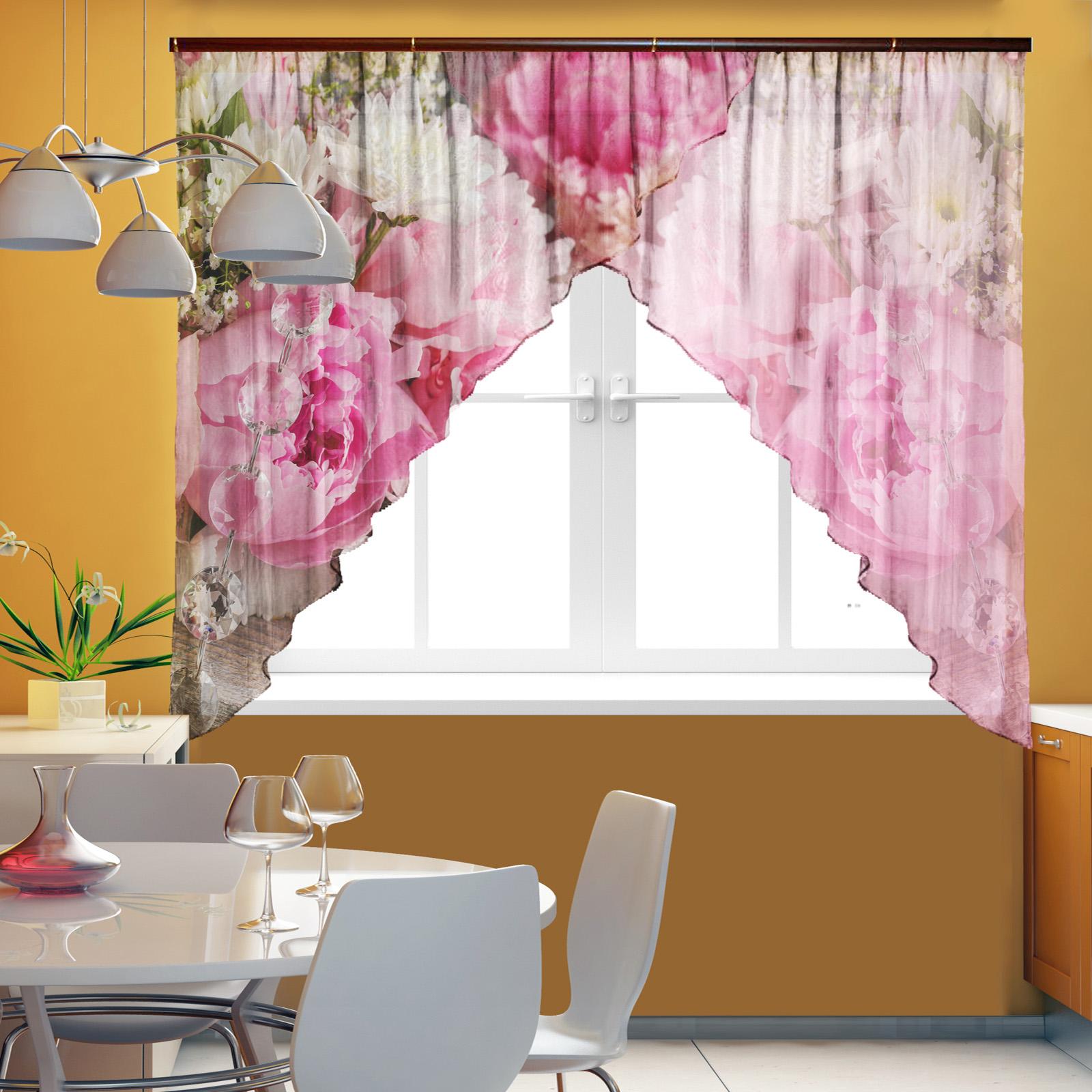 Тюль для кухни «Хризантемы»