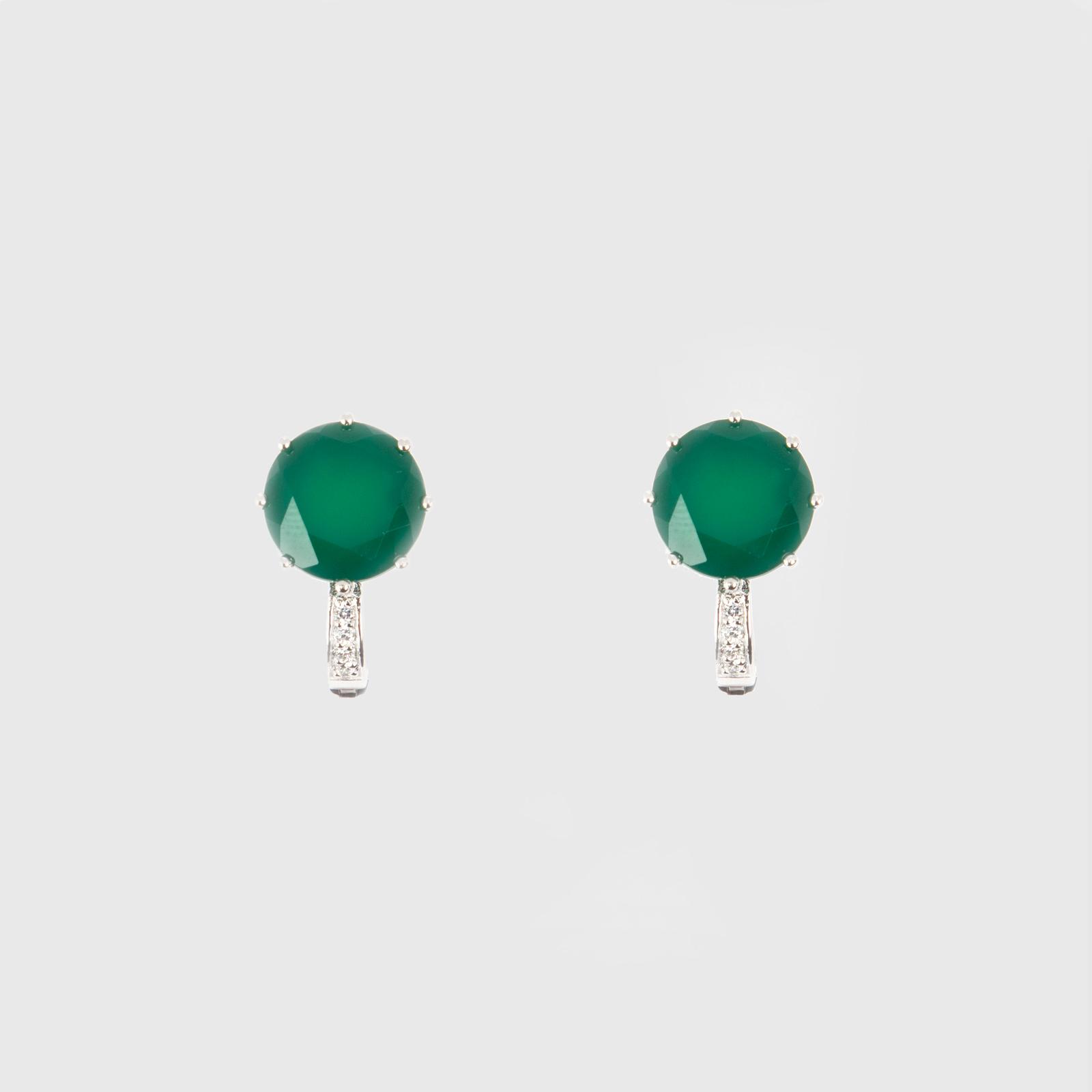 Серьги «Зеленый агат»
