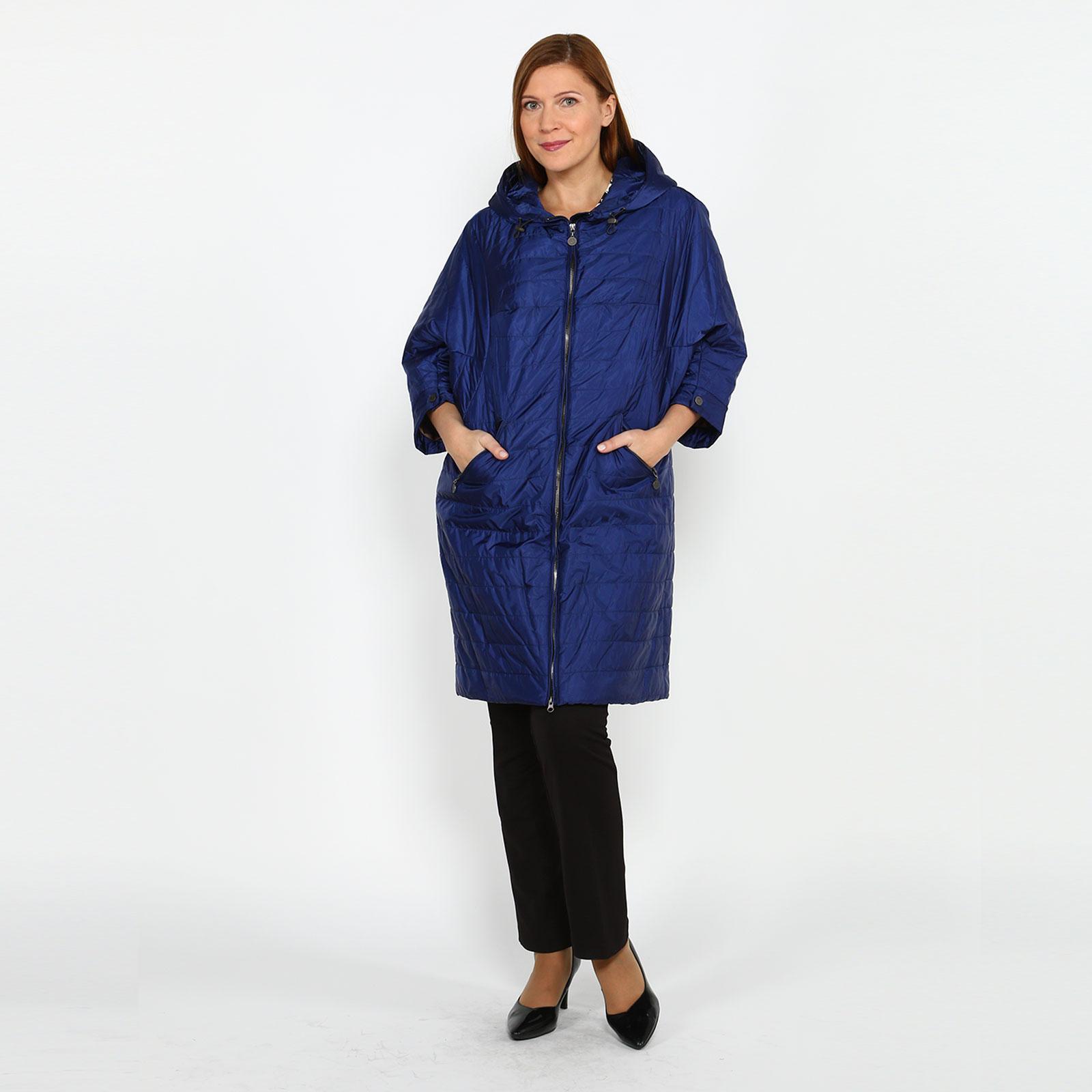 Пальто на молнии с карманами и капюшоном