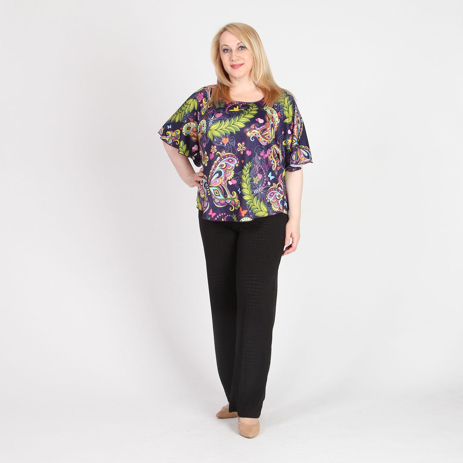 Блуза прямого кроя с абстрактным принтом