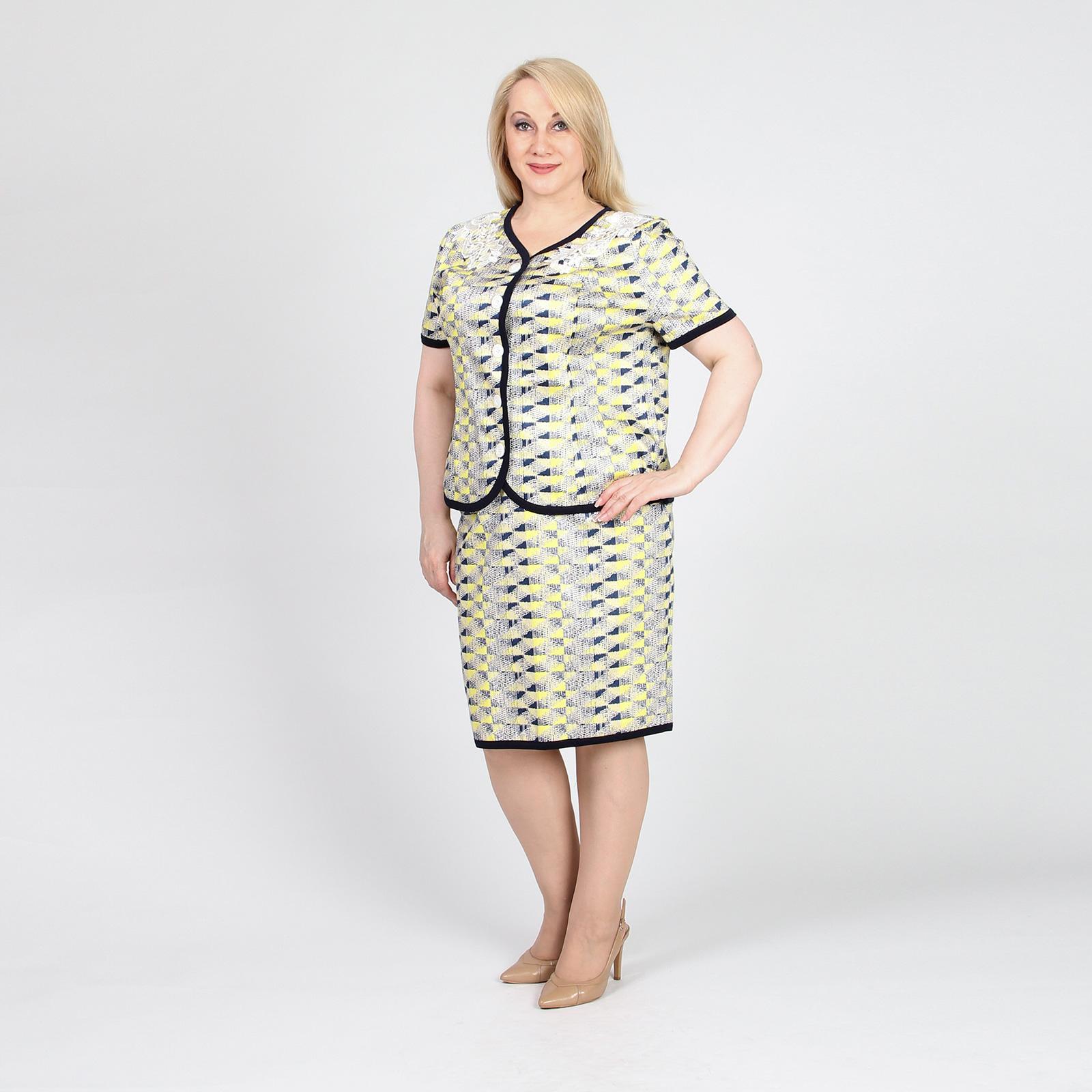 Костюм: юбка-миди прямого кроя и пиджак с коротким рукавом