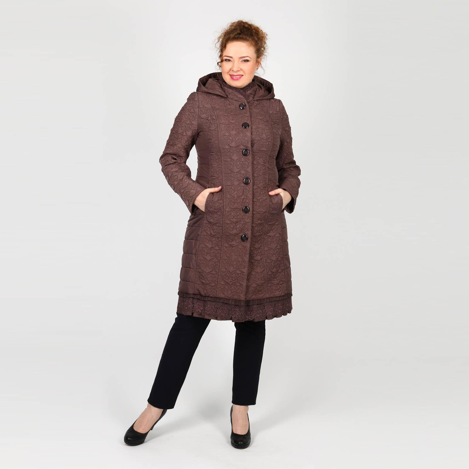 Пальто фактурное с ажурными вставками
