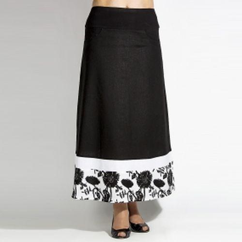 Длинная юбка свободного кроя с принтом по низу