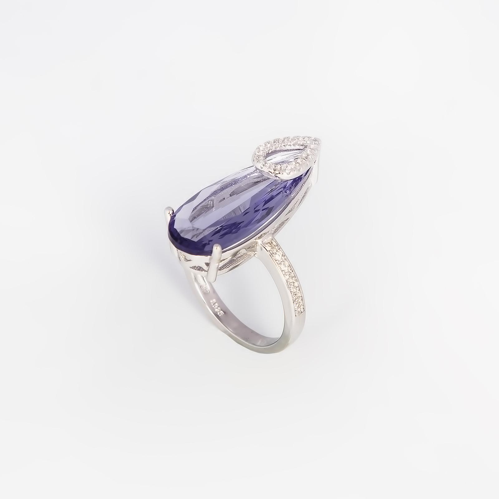 Серебряное кольцо «Капля циркония»