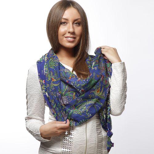 Двойной комбинированный шарф-долька с узелками и сказочным принтом