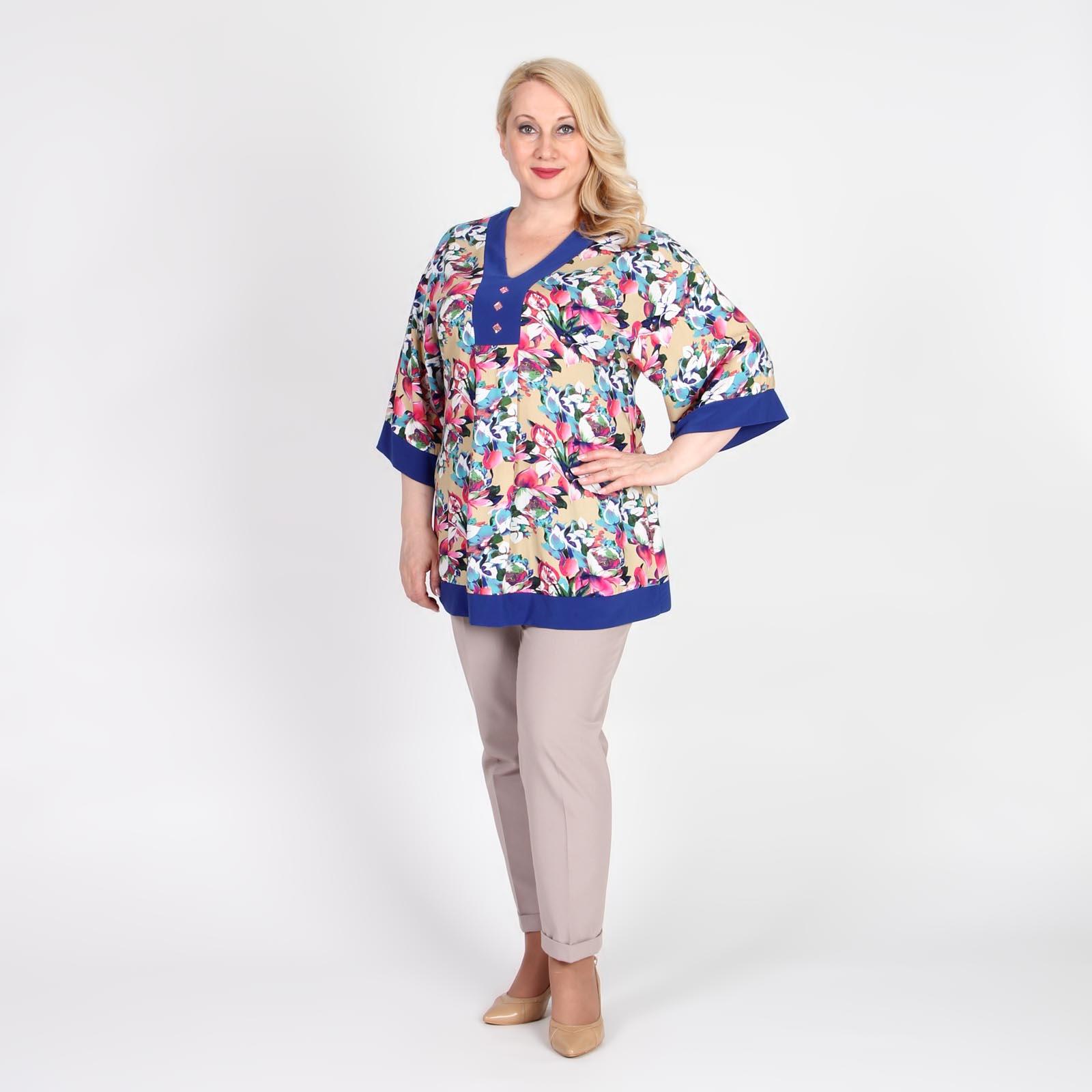 Блуза с контрастными вставками и цветочным принтом