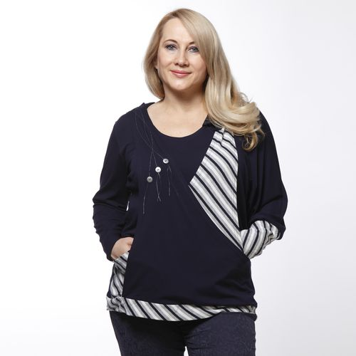 Блуза свободного кроя с контрастной отделкой с геометрическим принтом