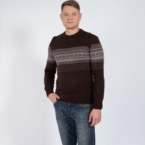Пуловер мужской с округлым вырезом горловины и геометрическим узором