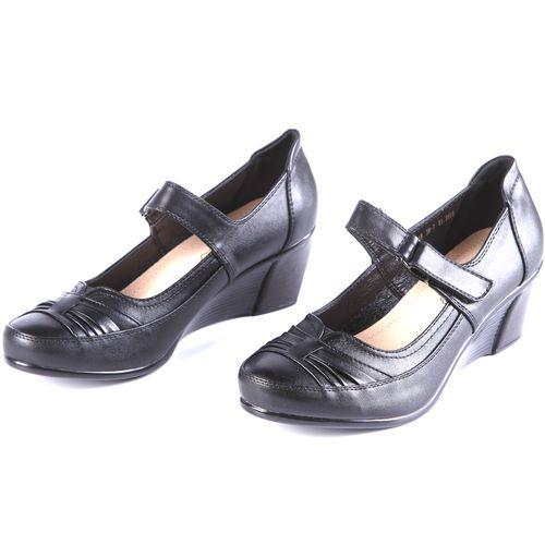 Туфли женские на танкетке с удобным ремешком на липучке
