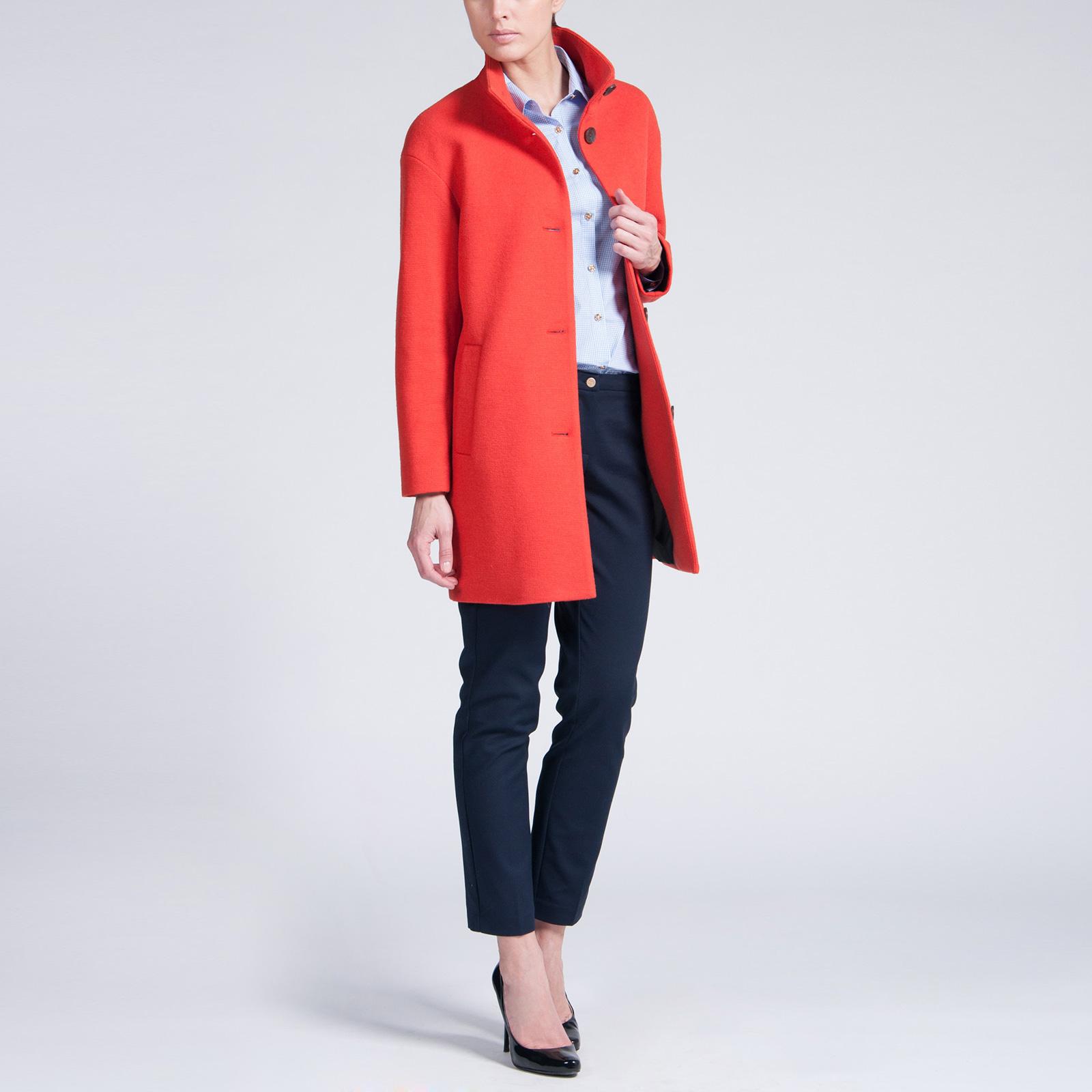 Пальто на пуговицах с воротником-стойка
