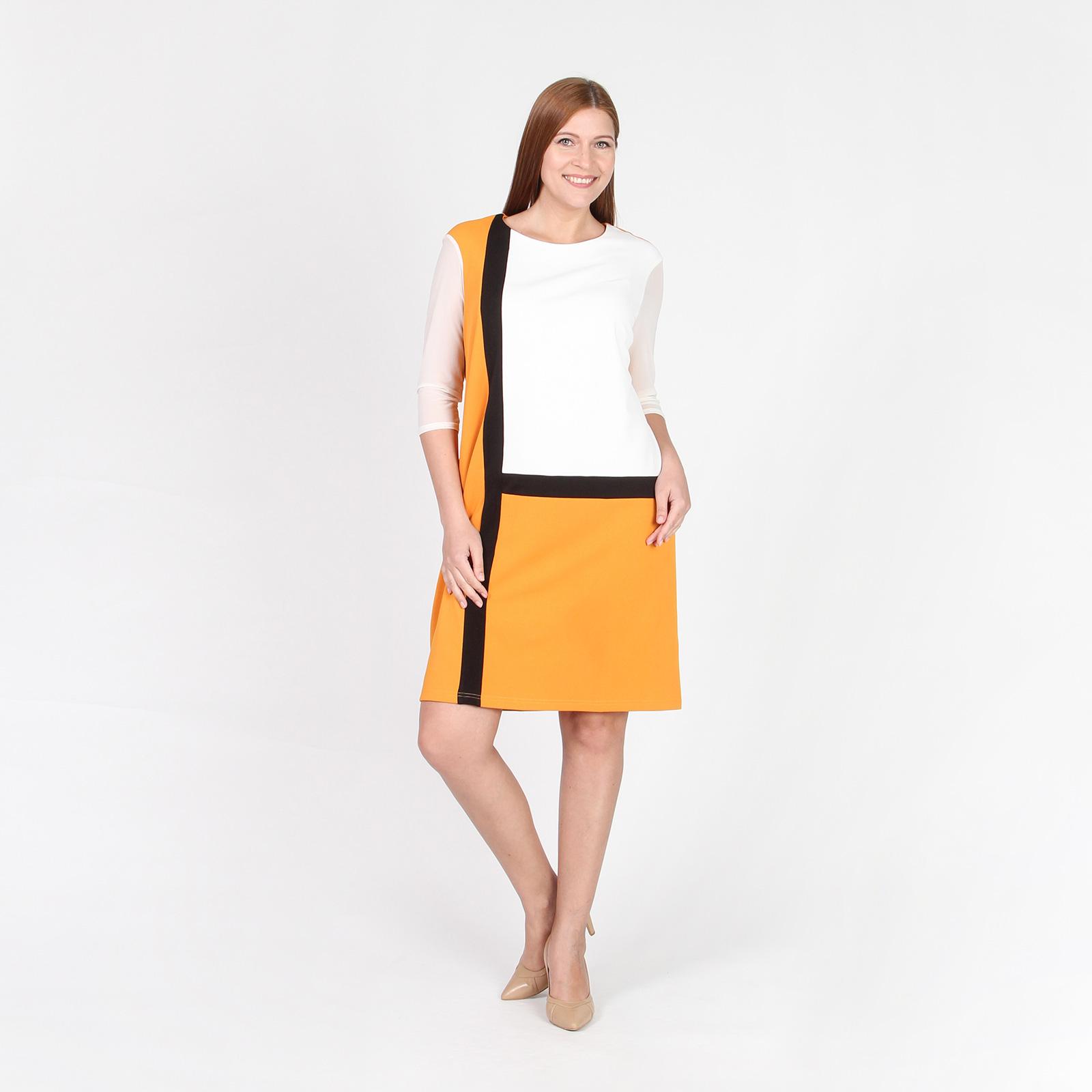 Платье прямого кроя с контрастными вставками