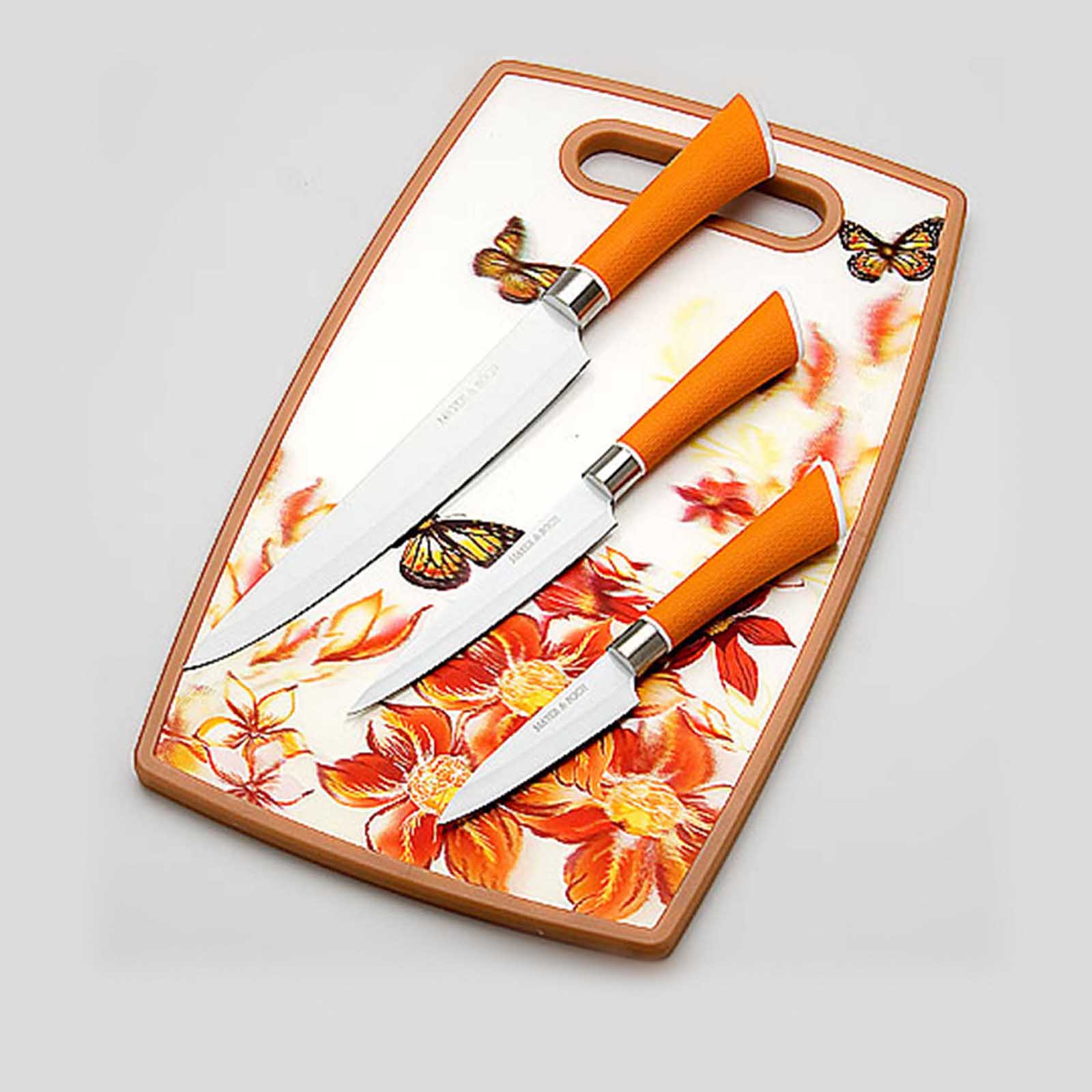 Набор ножей с доской «Акварель», 4 предмета
