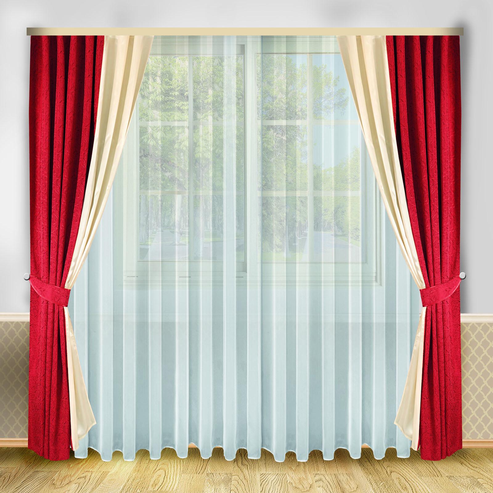 Комплект штор + тюль «Вишневый дуэт»