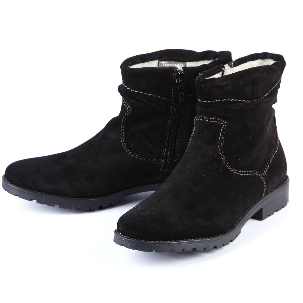 Ботинки женские украшенные узорной прострочкой и молнией