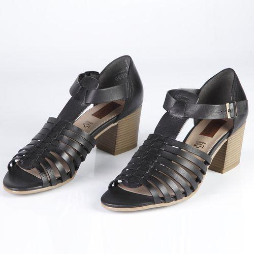 Босоножки женские из натуральной кожи на широком каблуке украшенные ремешком