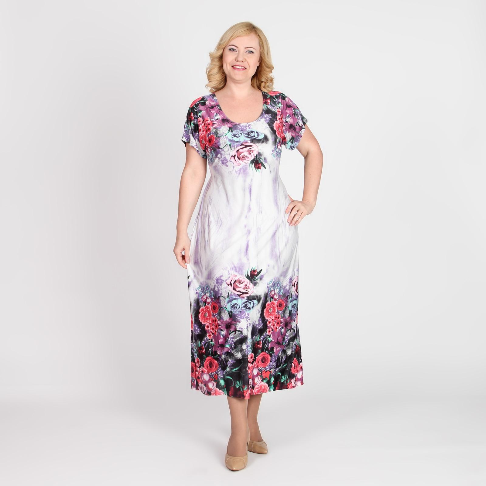 Платье прямого кроя с цветочным принтом