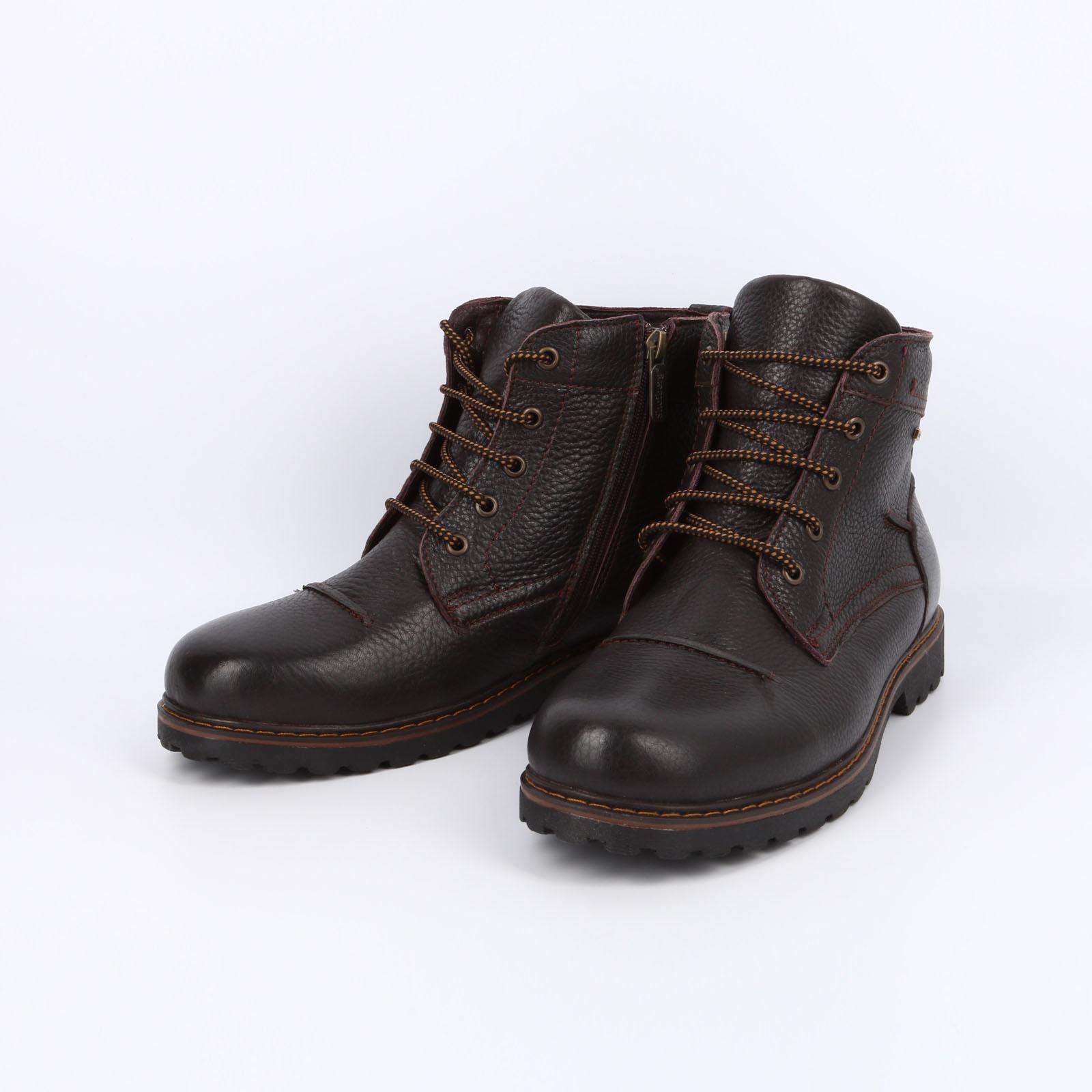 Кожаные мужские ботинки на шнуровке
