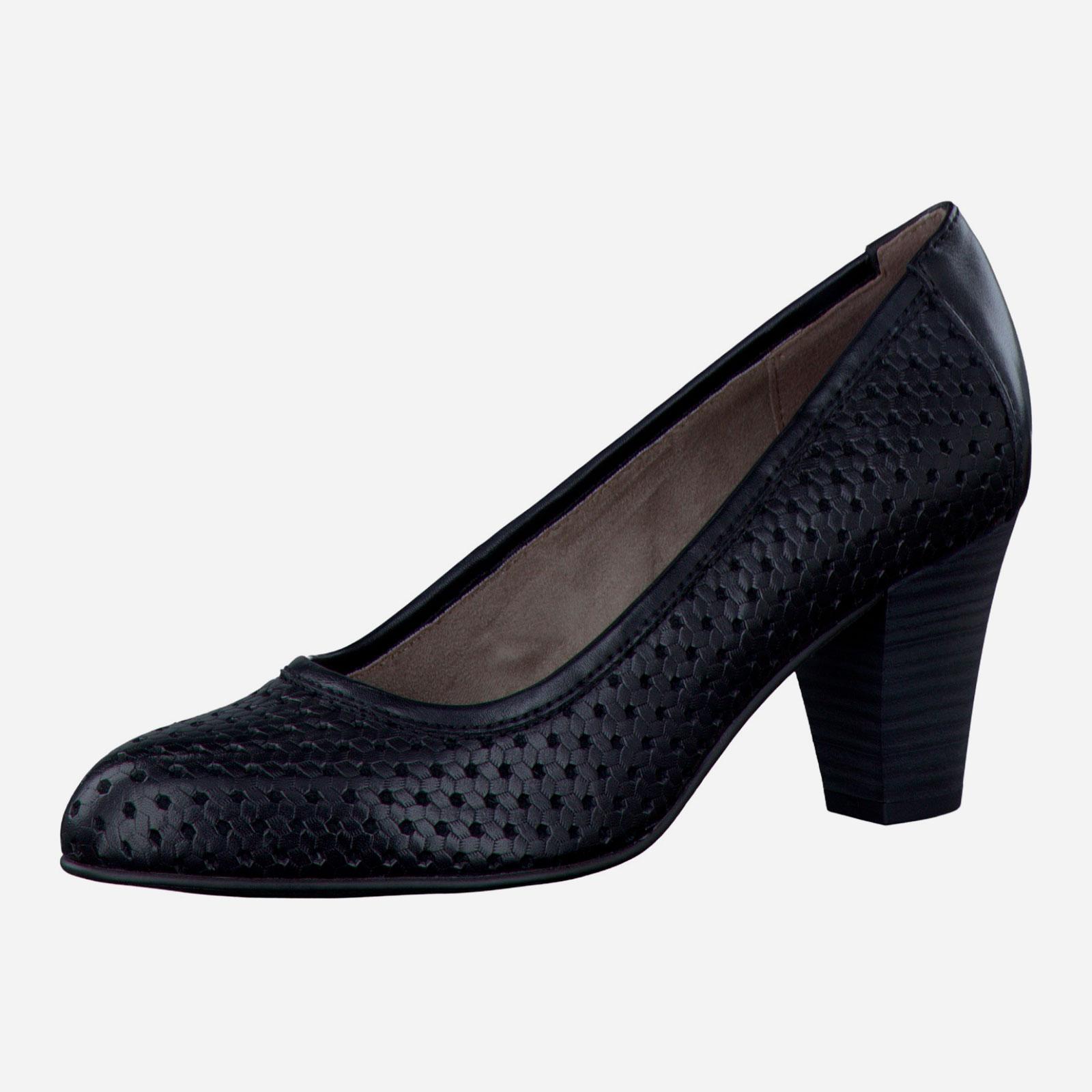 Туфли с перфорацией на наборном каблуке