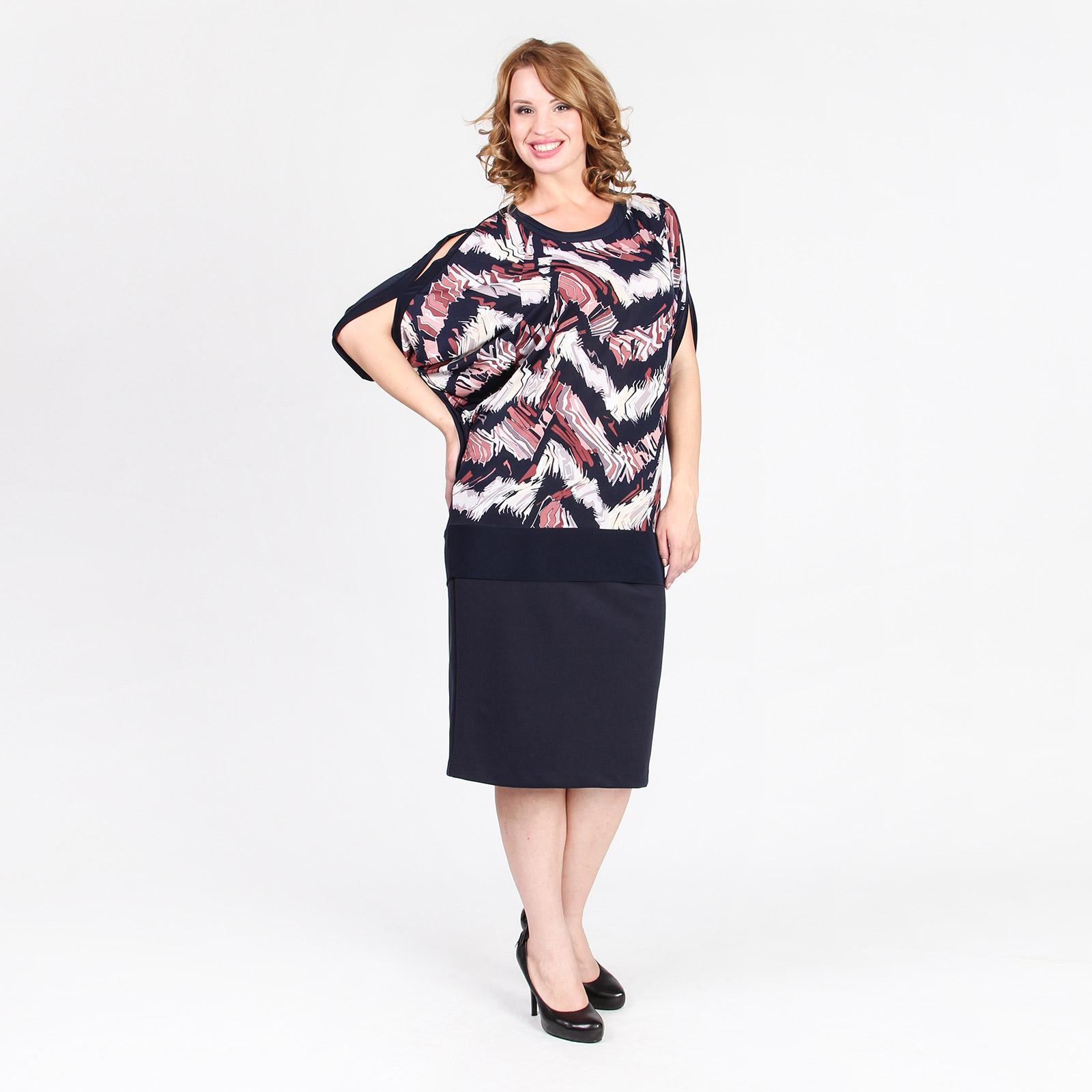 Блуза свободного кроя с полукруглым вырезом и оригинальными рукавами