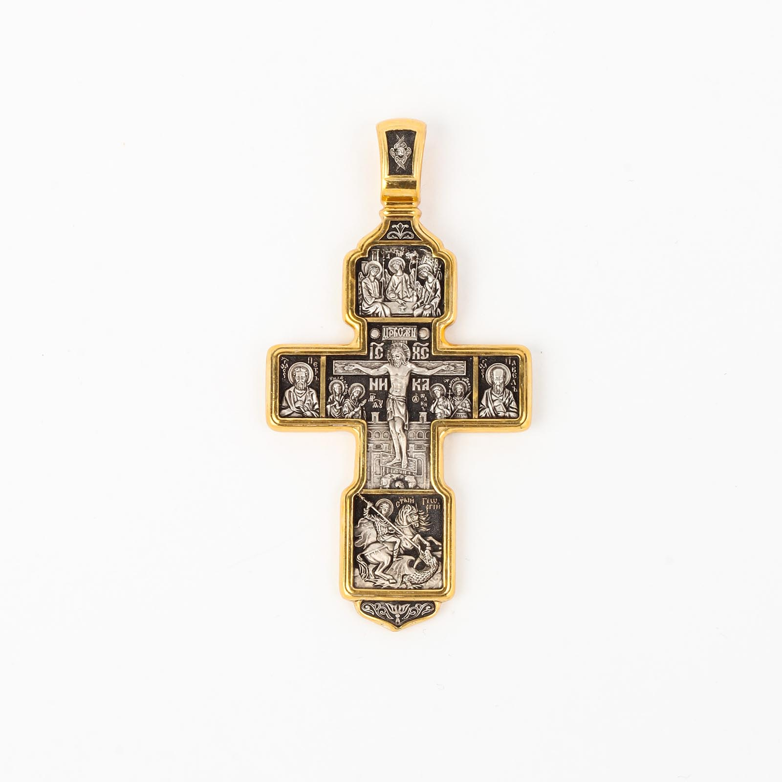 Крест «Распятие Христово. Святая Троица. Архангел Михаил. Св. Воины. Тихвинская икона Божией Матери»