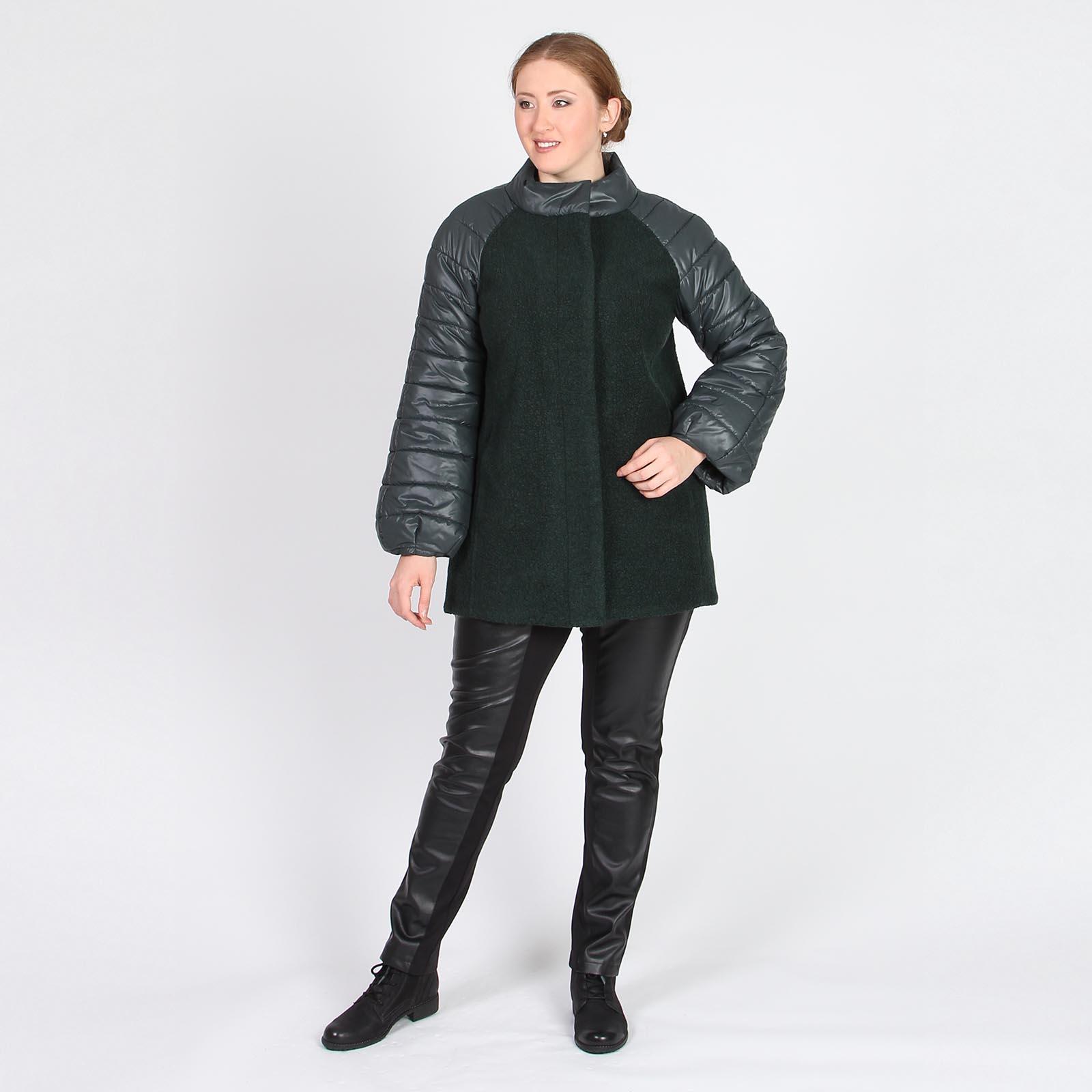 Пальто шерстяное со стегаными рукавами