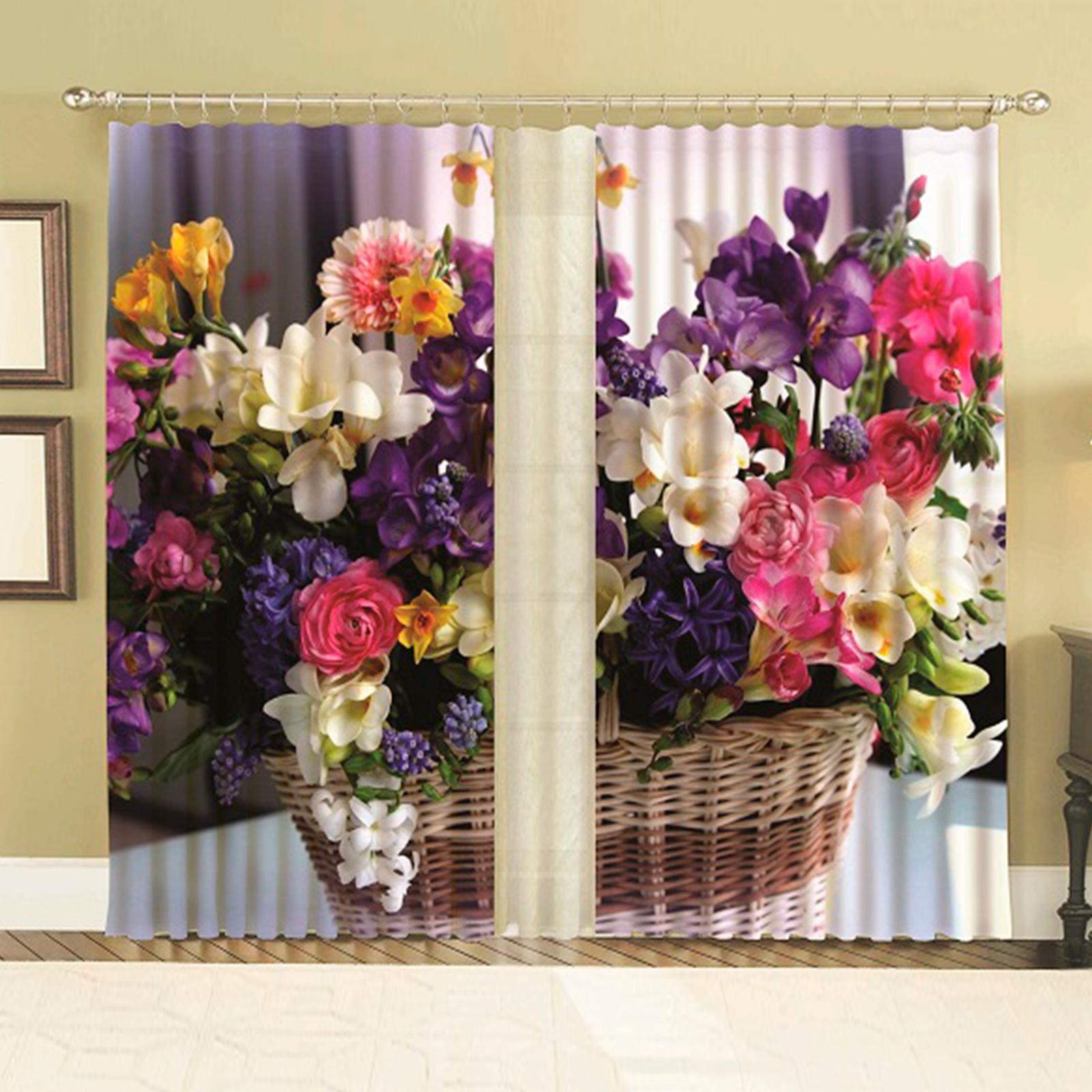 Комплект штор + тюль «Цветочная корзина»