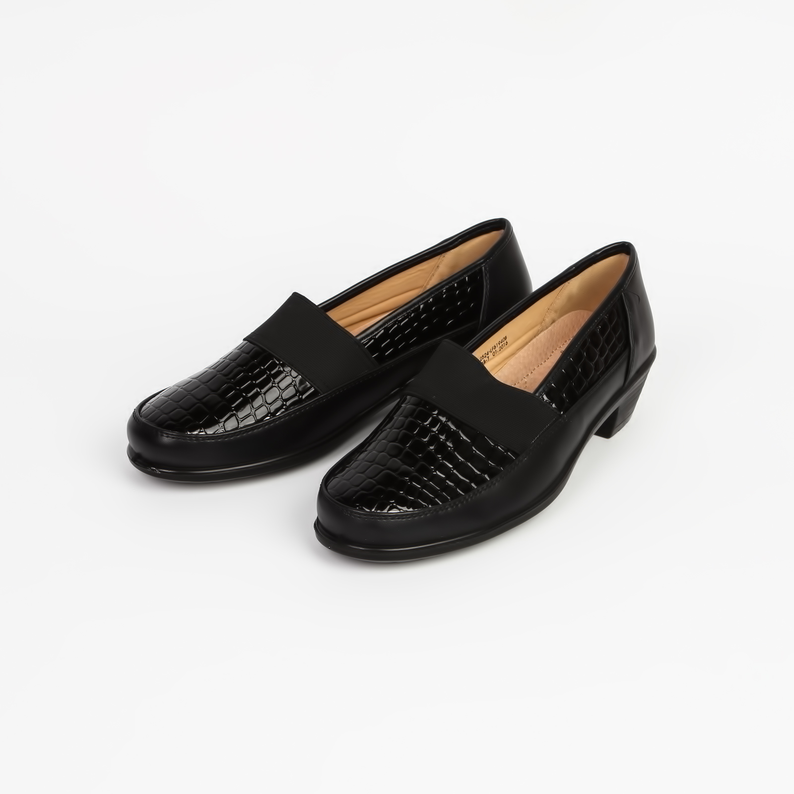 Туфли женские на невысоком каблуке с вставками под «рептилию»