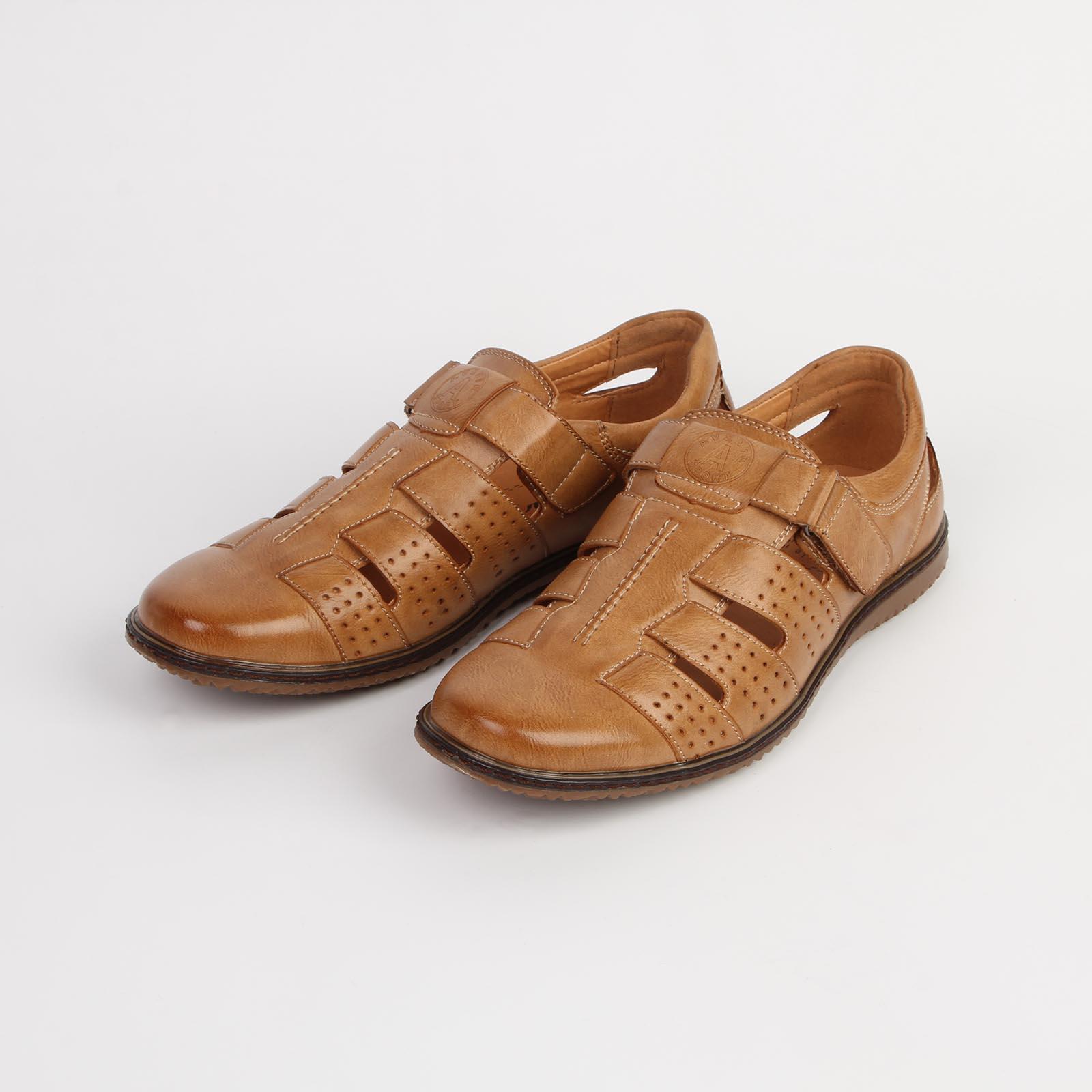 Туфли мужские летние на удобном ремешке с застежкой-липучкой