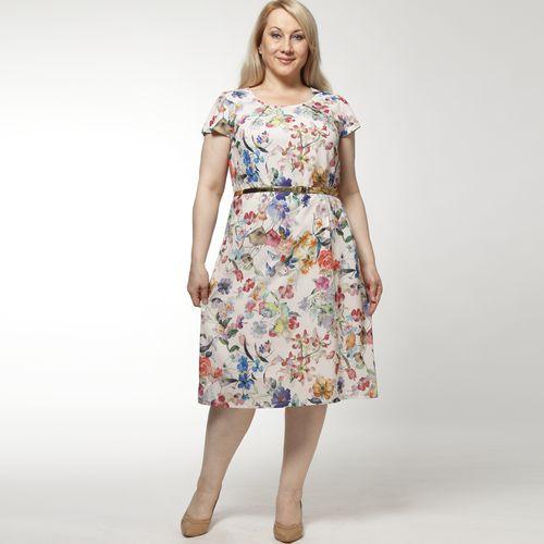 Платье-миди с ремешком и цветочным принтом