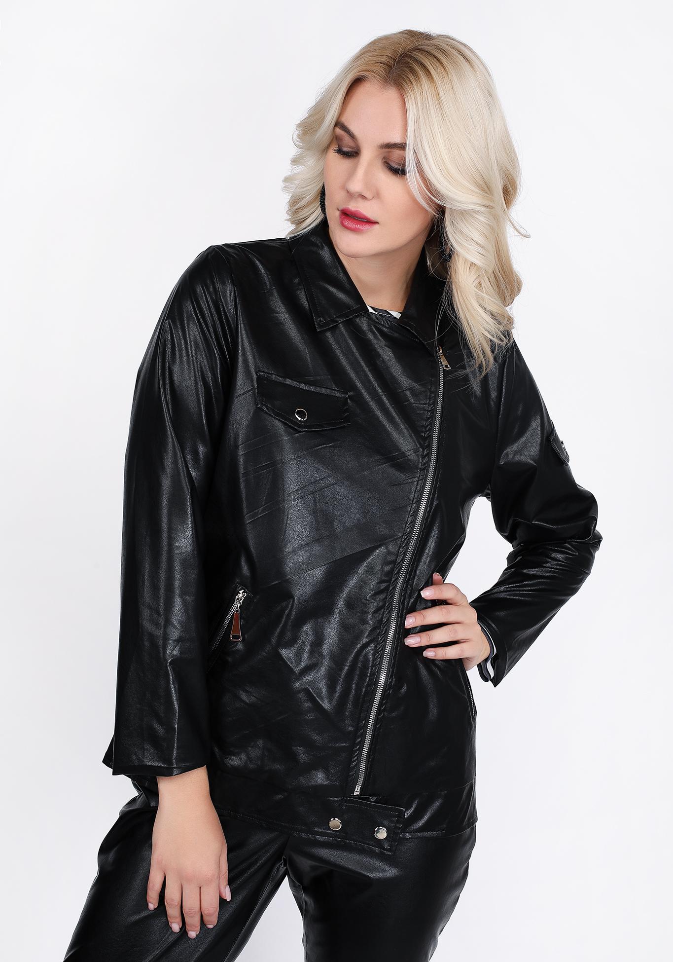 Куртка-косуха из эко-кожи на молнии