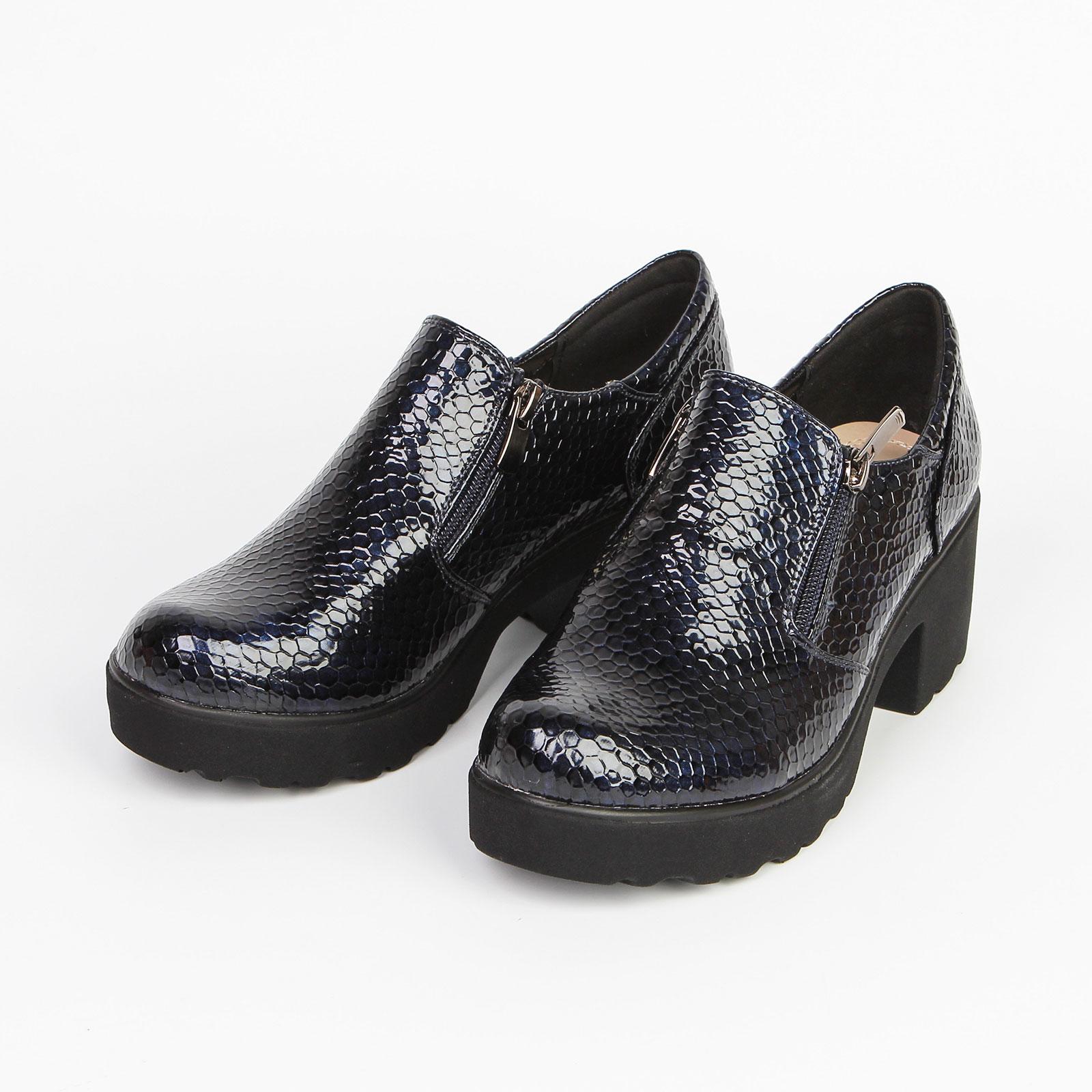 Ботинки женские с тиснением под «рептилию» на молнии