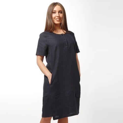 Платье льняное свободного кроя с карманами