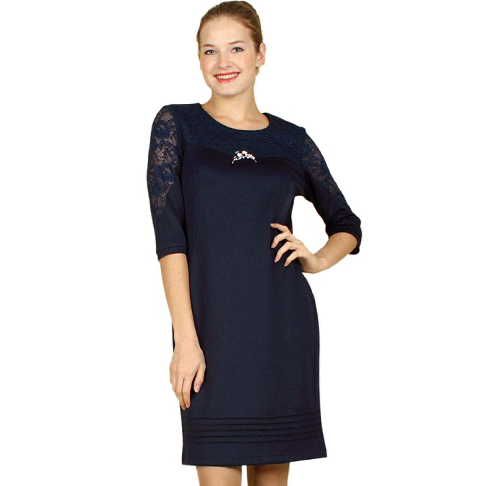 Платье с кружевом на груди и рукавах