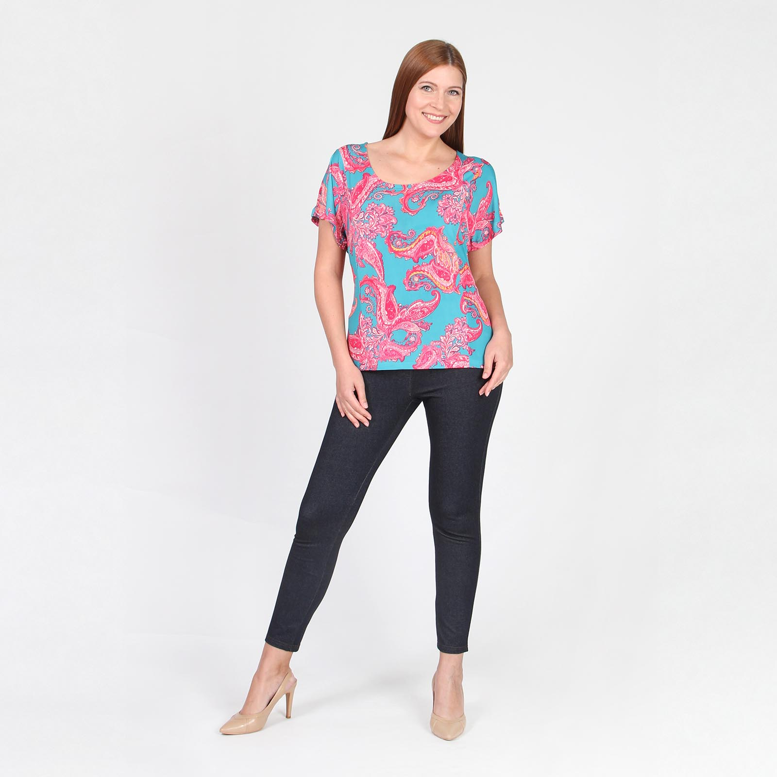 Блуза с дизайнерским принтом и поясом