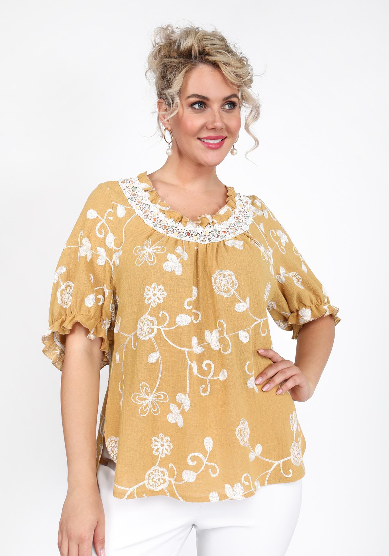 Блуза из хлопка с вышивкой