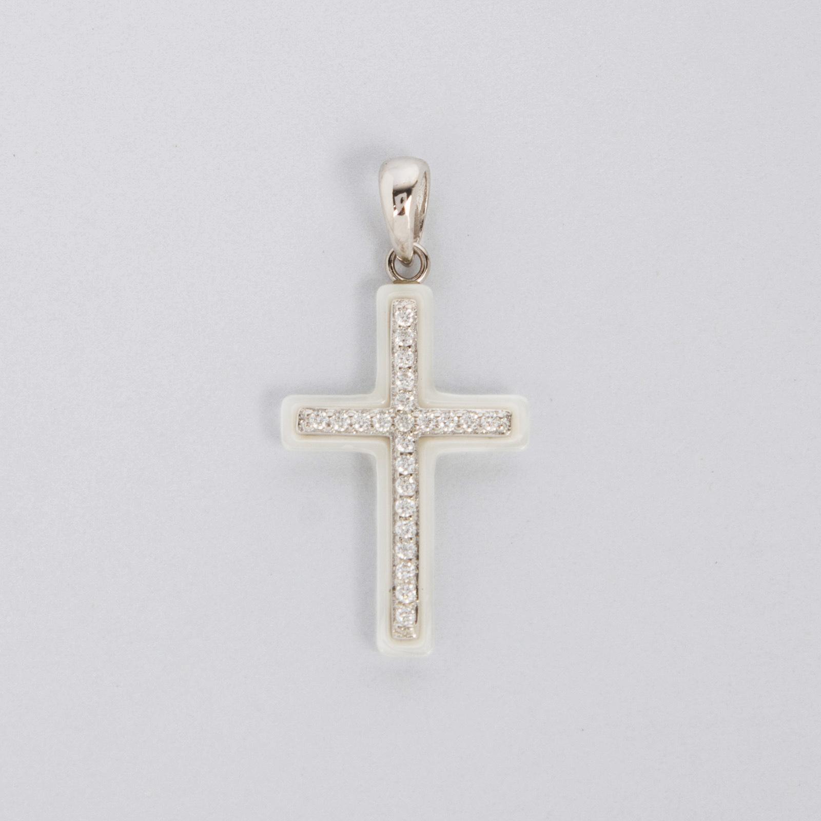 Серебряная подвеска «Керамический крест»